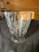 Victorian Wreath And Torch Frosted Pattern Glass Shade 2and1/4 Fitter C1900s