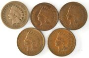 Lot Of 5 Indian Head Pennies Us 1862 1902 1903 1907 1909 Copper One Cent Coins