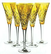 Ajka St Lazare Yellow Gold Cut To Clear Crystal Champagne Flutes New In Box C