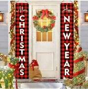 Merry Christmas Front Door Banner Hanging Porch Sign Wall Banner Xmas Decoration