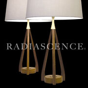 Pair Danish Atomic Modern Modeline Walnut Table Lamps 1950and039s Pearsall Kagan
