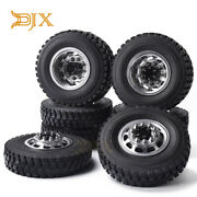 Frontandrear Rubber Low Loader Wheels With Alloy Rim For Tamiya 1/14 Scale Tractor