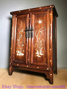 28.8 Old Chinese Huanghuali Wood Shell Dynasty Flower Bird Cabinet Wardrobe