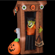 Tall Animated Halloween Inflatable Spooky Outhouse Monster With Door Opening 6ft