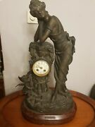 Antique 19th French Original Bronze Marble Base Watch Marked