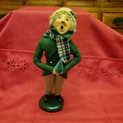 Vintage Christmas 1987 Byers' Choice The Carolers Boy In Plaid Scarf W/ Tree
