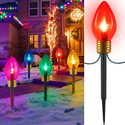 Jumbo C9 Christmas Lights Outdoor Decorations Lawn With Pathway Marker Stakes 2