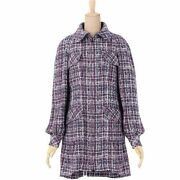 17ss P55 Cotton Mixed Tweed Pearl Coat Outer Women And039s 34 Navy No.6236