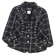 Jacket 06a Coco Mark Button Women And039s Tweed Wool Cotton Outer No.6963