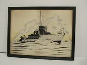 Rare 1940and039s Ww2 Minesweeper Art Print - Burger Boat Company - Manitowoc - Wisc.