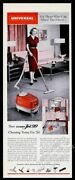 1956 Universal Turbo-jet 99 Canister Vacuum Cleaner Housewife Photo Vintage Ad