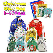 100pack Christmas Drawstring Gift Bag W/tags 8 Pattern Holiday Foil Wrapping Bag