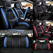 8pcs Full Set Pu Leather Car Seat Covers Front Andrear Mat W/ Steering Wheel Cover