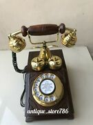 Landline Rotary Dial Phone Antique Brass And Wood Old Looking Telephone For Home