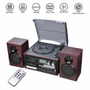Bluetooth Vinyl Record Player 3-speed Home Turntables Built-in Speakers System