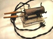 Lot Antique Solar Electric Mfg. Co. Curling Iron Heater And Folding Curling Iron