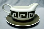 Susie Cooper / Wedgwood And039green Keystoneand039 Dinnerware - Gravy Boat And Liner