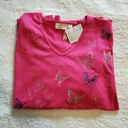 Quacker Factory Women 3x Pink Shirt 3/4 Embroidered Butterfly Rhinestone New Tag