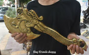 19 Old Chinese Bronze Gilt Dragon Loong Feng Shui Knife Ax Axe Hatchet Statue