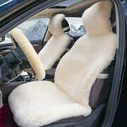 Sheepskin Wool Fur Car Seat Cover Set For Suv Truck + Fuzzy Steering Wheel Cover
