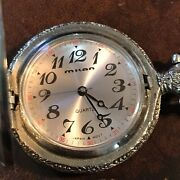 Vintage Milan Quartz Pocket Watch With Dog And Duck Front Cover New Working Well