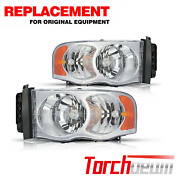 Headlights Assembly For 2002-2005 Dodge Ram 1500 2500 3500 Pickup Pair Headlamps
