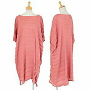 Issey Miyake Me Crepe Pleated Box Silhouette Dress Pink F Used Women No.3334
