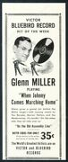 1942 Glenn Miller Photo When Johnny Comes Marching Home Record Release Print Ad
