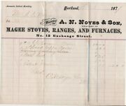Portland Me An Noyes And Son Magee Stoves Ranges Furnaces 1870s Antique Billhead