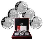 2010 Rwanda And039big Five Of Africaand039 The Biggest Silver Ounces Ever 5oz.proof Set