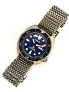 Seiko Divers Turtle Style Save The Ocean Mod 44mm Dome Crystal Mesh Bracelet