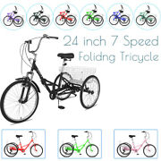 24inch Adultandseniors Foldable Tricycle 7-speed 3-wheel Bicycle With Cargo Basket
