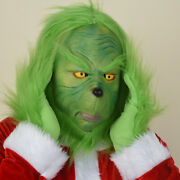 Funny Green Cosplay Prop Mask Gloves Halloween Party Costume Hair Monster