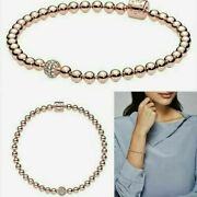 Authentic Pandora Silver Bracelet Beads And Pave 598342cz With Gift Bag