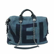 Glory 2way Chain Tote Navy Boston Bag Deauville Straw Women And039s No.4086