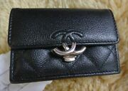 Double Coco Clip Compact Trifold Purse Ap1175 Black Women And039s No.4370