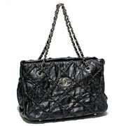 Ultra Stitch Rope Quilting Chain Shoulder Bag Vintage Leather No.5039
