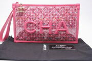 Used 19ss Tweed Vinyl Razor Clutch Pouch Bag Pink Seal With No.6089