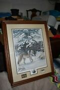 Leo Stans - Winter Wonder - Wolves With Stamp And Medallions 25 X 20.5 Inches