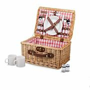 Picnic Time Catalina English Style Picnic Basket With Service For Two Red And...