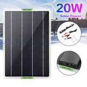 5w-20w Solar Panel 12v Trickle Charge Battery Charger Kit Maintainer Boat/car