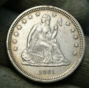 1861 Seated Liberty Quarter 25 Cents - Nice Coin Free Shipping 750