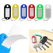 10 Pack Plastic Key Tags Luggage Fobs Id Card Name Label Keychain W/ Split Ring