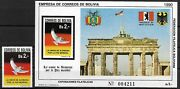 Bolivia - 1990 Mnh Unification Of East And West Germany Set And Souvenir Sheet