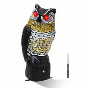 Solar Fake Owl Decoy To Scare Birds Away Tall Motion Activated Scarecrow Black