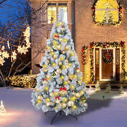 6 Ft Artificial Christmas Tree White Snow-covered Xmas Decorations Decor And Stand