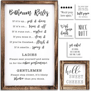 Set Of 2 Funny Bathroom Signs With Rules And 8 Interchangeable Sayings Restroom