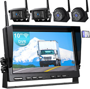 Fookoo 1080p 10 Wireless Backup Camera System, 10 Quad Split Monitor With Loop