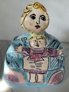 Sue Bolt Signed Art Pottery One Of Kind Mother And Child Signed 6.5andrdquo Tall