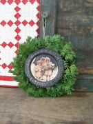 Antique Tin Abc Alphabet Plate With Old Postcard Print In A Christmas Wreath